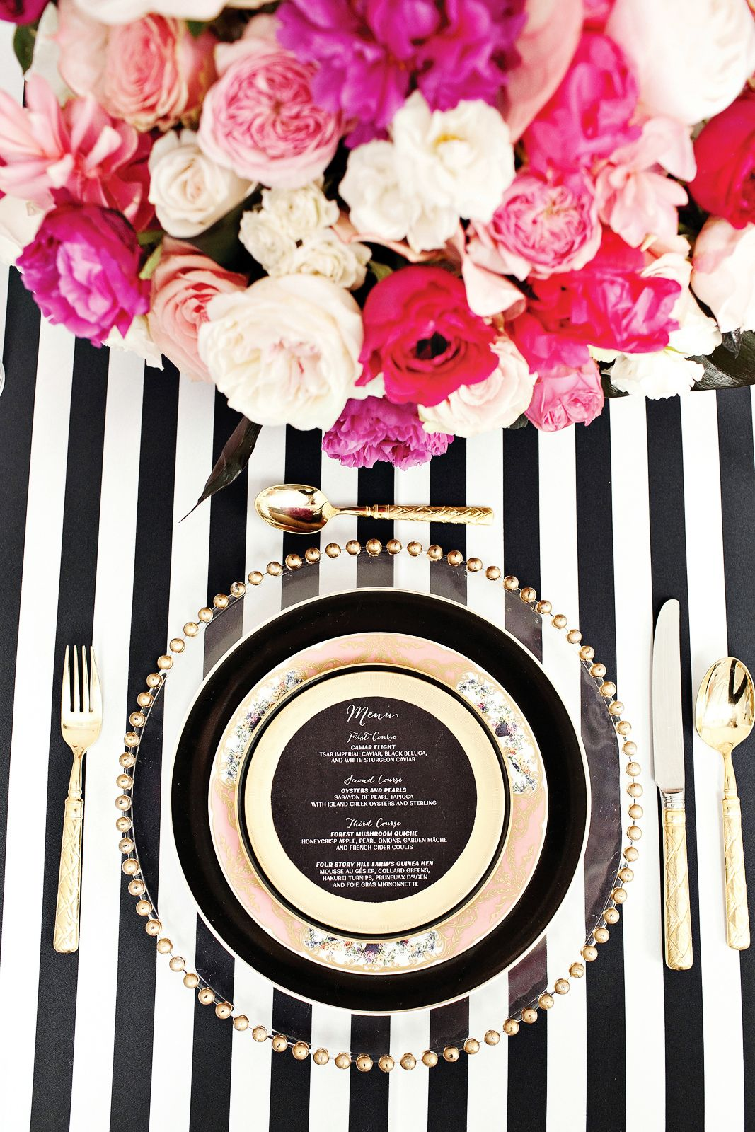 kate spade inspired table setting. with striped napkin