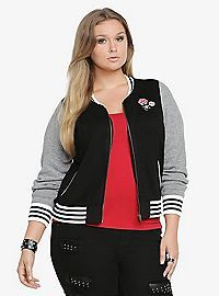 e12994746b5 COM - Varisty Sweater Bomber Jacket. TORRID.COM - Varisty Sweater Bomber  Jacket Hunter Mcgrady