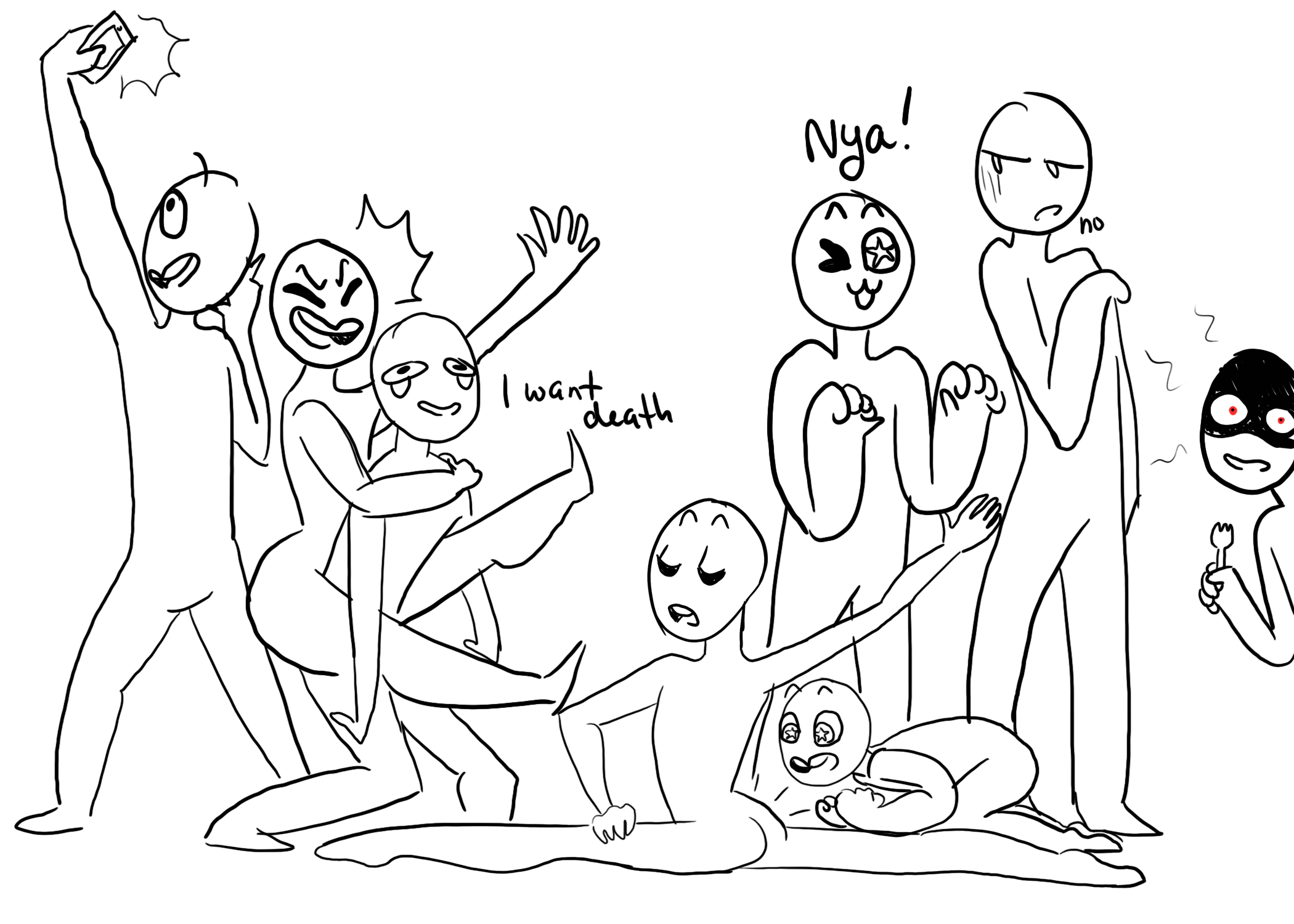Line Art Meme : I made my own draw the squad meme you re welcome idk