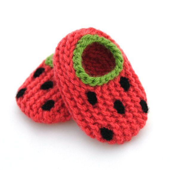 Wool Baby Watermelon Slippers, Booties, Crib Shoes | El pesebre ...