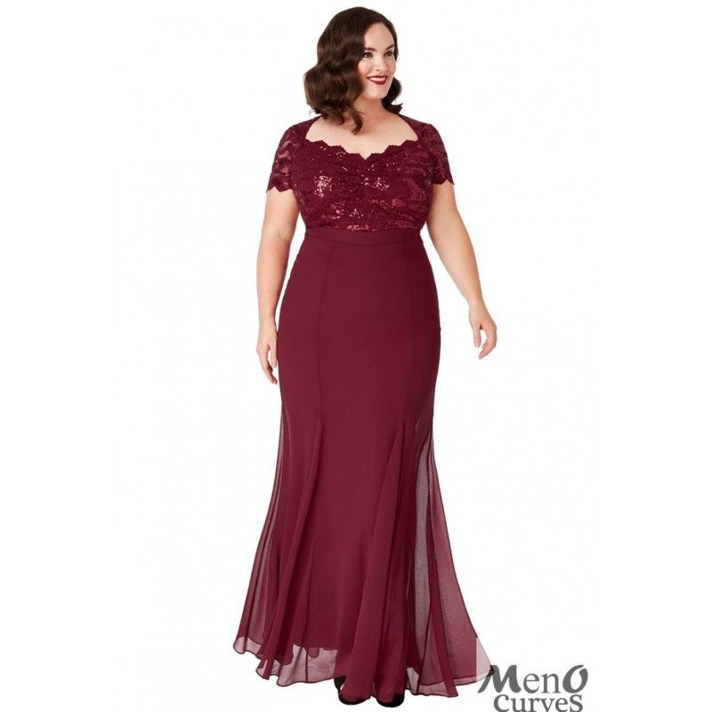 Vestido De Fiesta En Talla Grande En Color Vino De Encaje