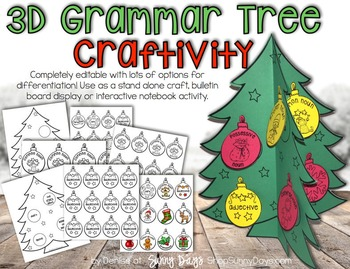 This versatile craftivity can be used as a stand alone 3D tree, a cool pop-out bulletin board display, a literacy center, or an interactive notebook activity.  The file includes full color step by step directions and examples. I've also included lots of different ways to differentiate the language arts component by offering the ornaments in several different versions.