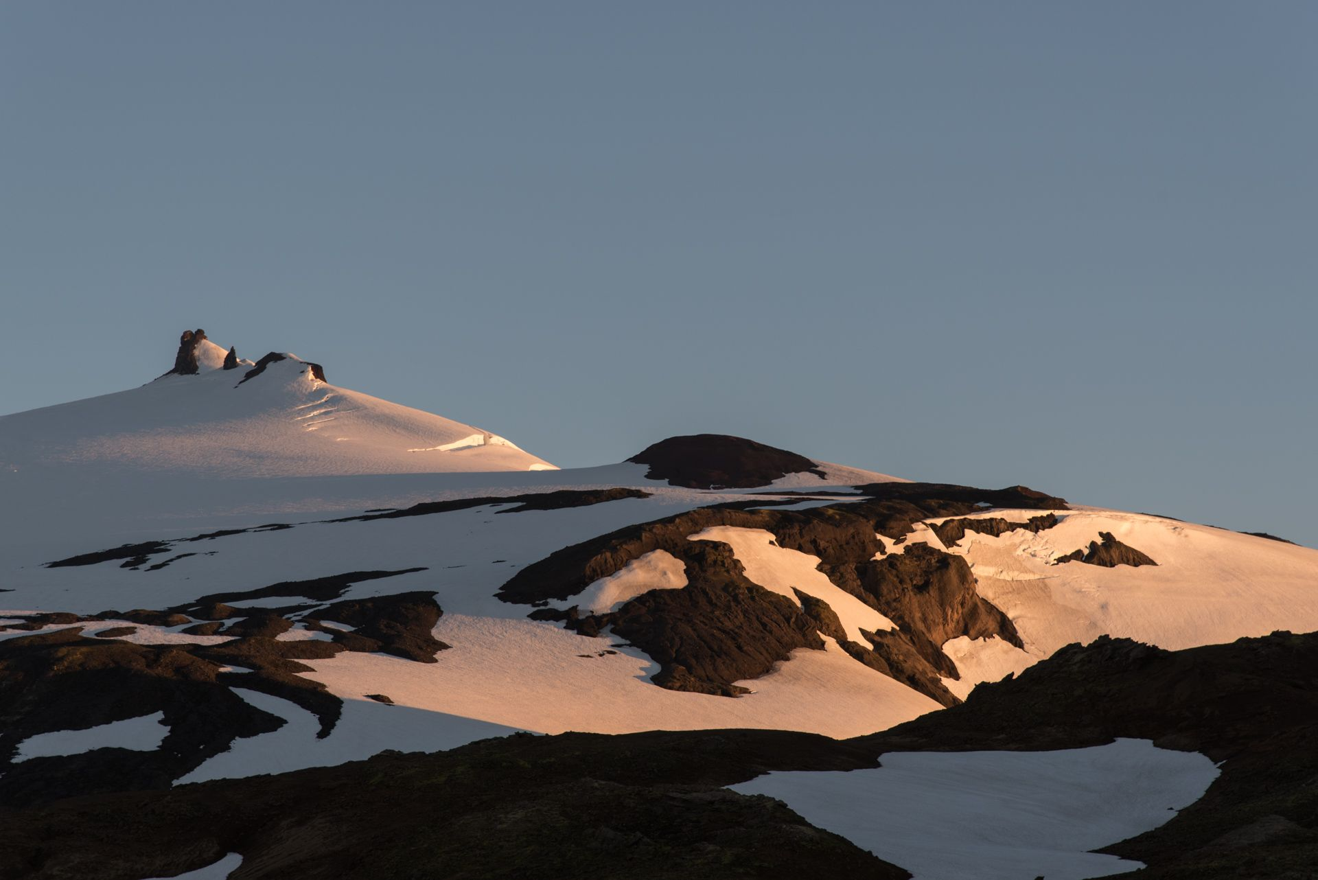 The Snæfellsjökull volcano during sunset in July.