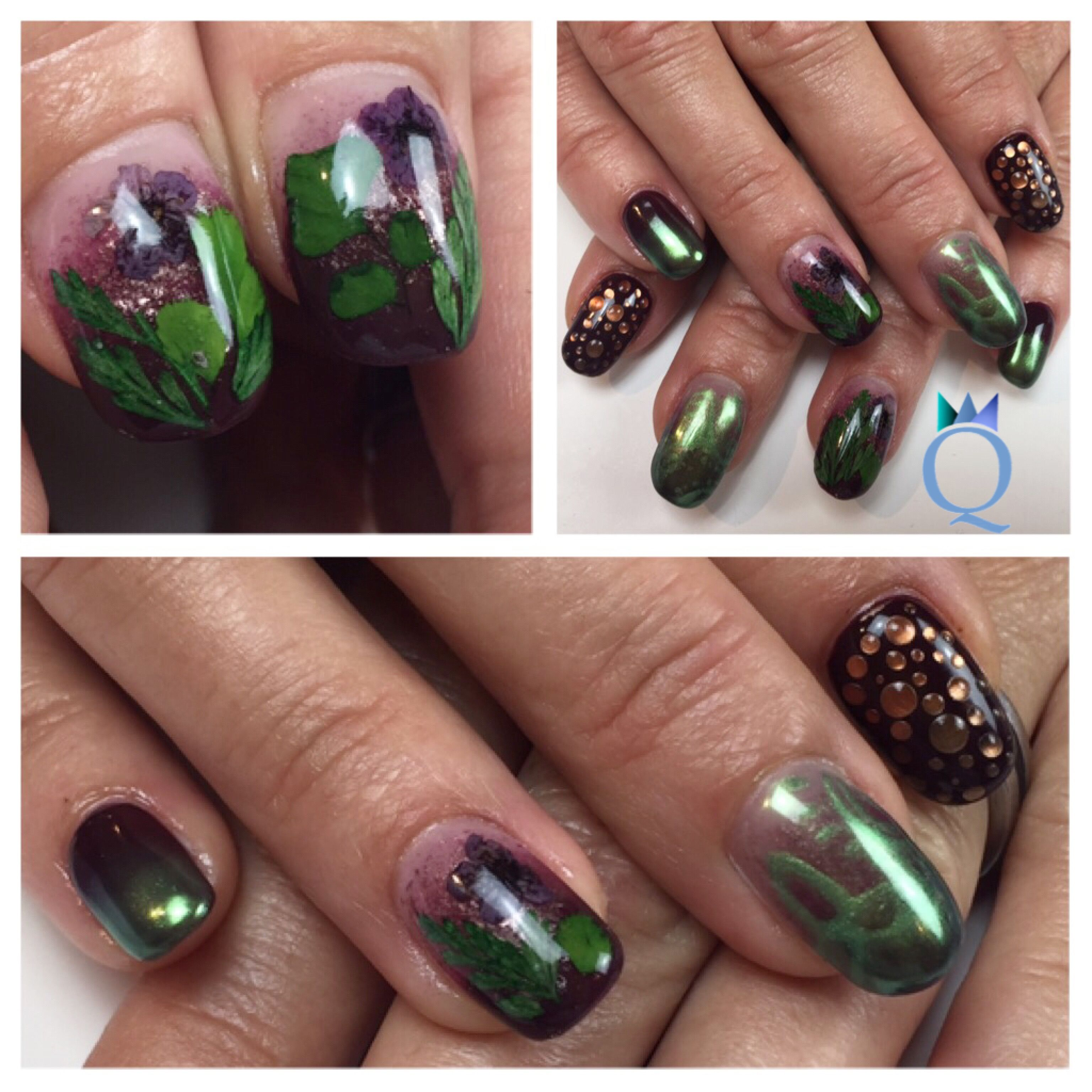 shortnails #gelnails #nails #real #flowers #green #chrome #ombre ...