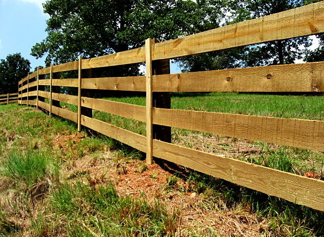 4 Board Rough Sawn Wood Pasture Fence Ideas For The