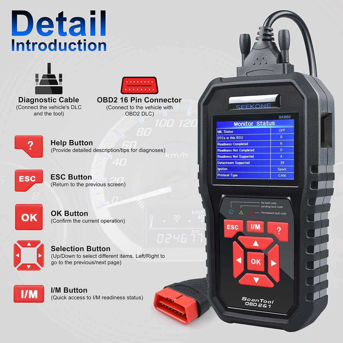 Auto OBD2 Scanner Check Car Engine Light Fault Code Reader OBDII Diagnostic Scan