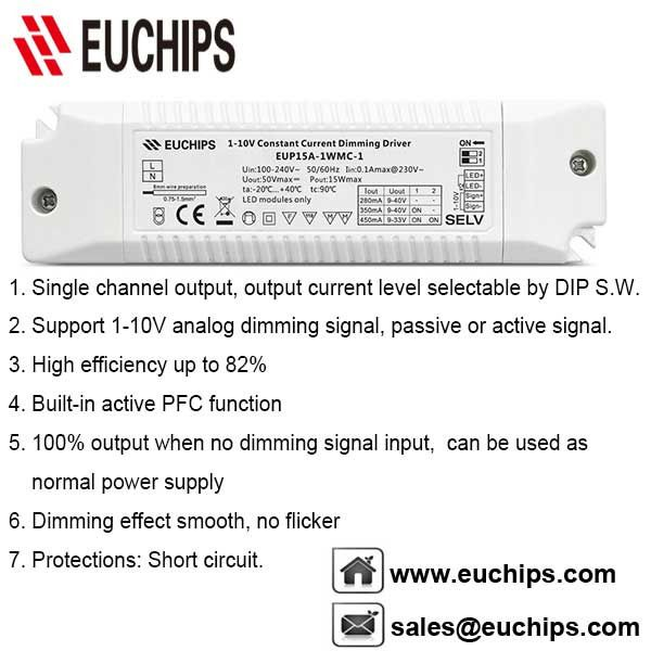 100 240vac 15w 1 Channel 1 10v Constant Current Dimmable Driver Eup15a 1wmc 1 Inrush Current Relative Humidity Channel