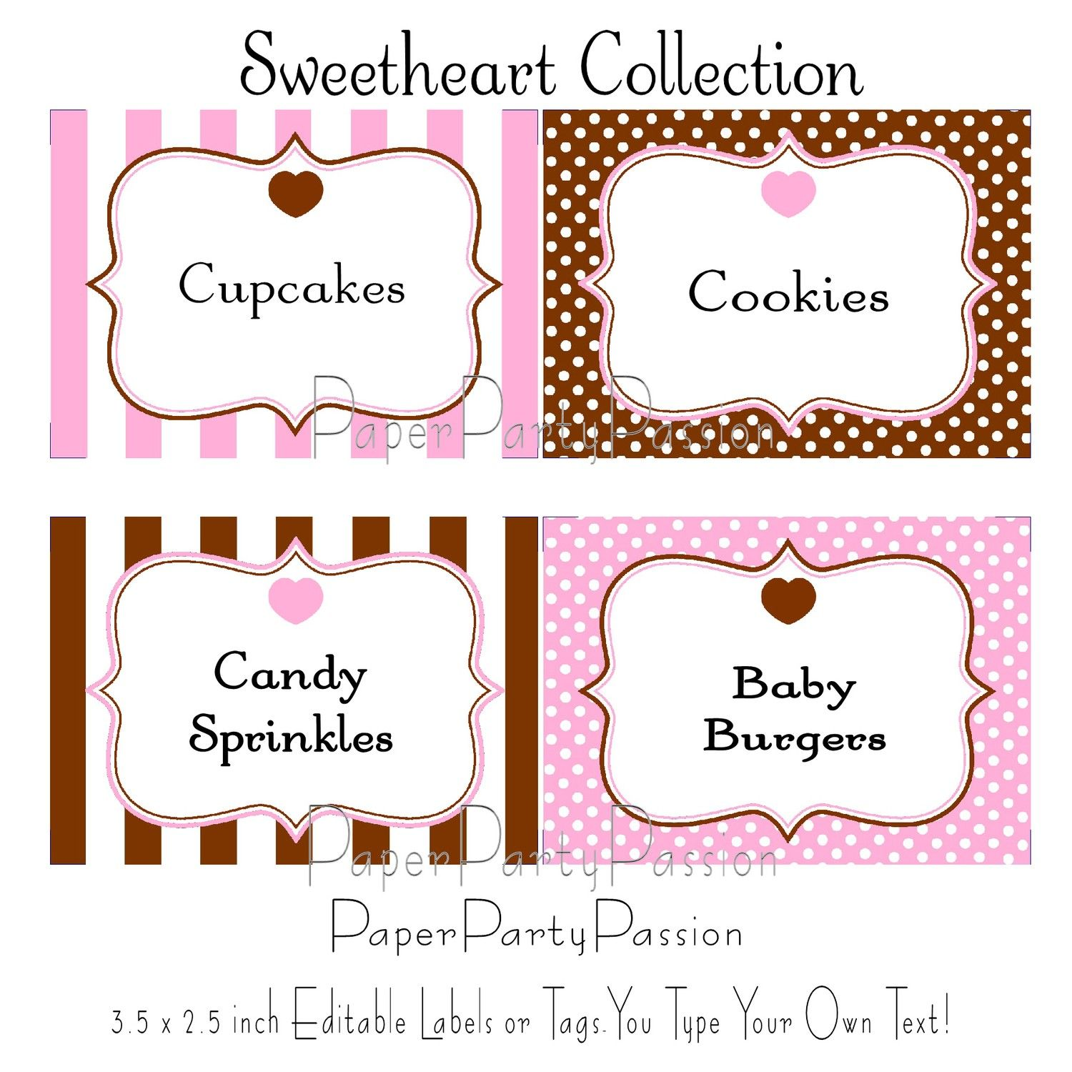 candy buffet printable editable party labels or tags pink and brown pdf files you type your own. Black Bedroom Furniture Sets. Home Design Ideas