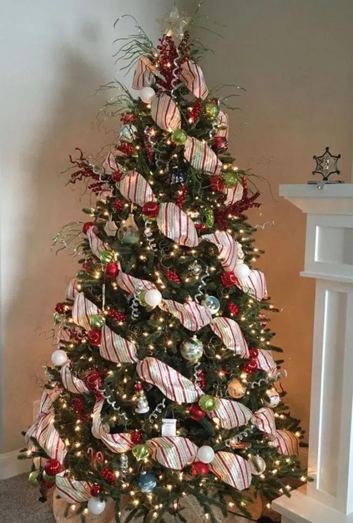 27 Buffalo Check Christmas Tree With Ribbon 24 Pencil Christmas Tree Christmas Tree Decorations Diy Creative Christmas Trees