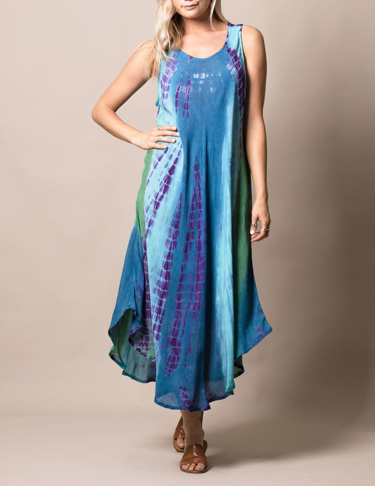 04b0f0414b28 Boho Breeze Tie-Dye Maxi Dress - Cosmic Blue