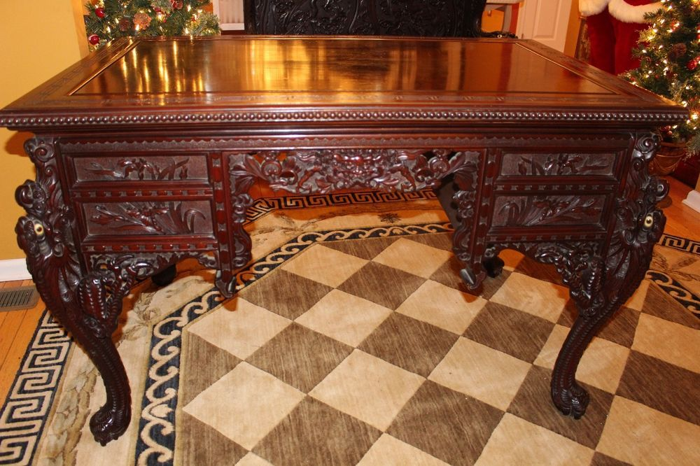 Antique Asian Chinese Japanese Hand Carved Wood Dragon Desk 19th C