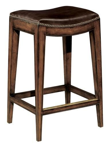 New Woodbridge Bar Stool Brown Leather Saddle Seat Nailhead Distressed Wood Wood Bridge Bar Stools Woodbridge Furniture