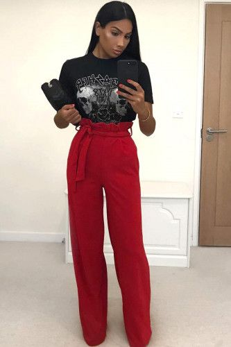 f824b6831c Red Paper Bag Tie Waist Wide Leg Trousers #Fashion #Trends #Style #Beauty  #Outfit #Ideas #Trends #Lifestyle
