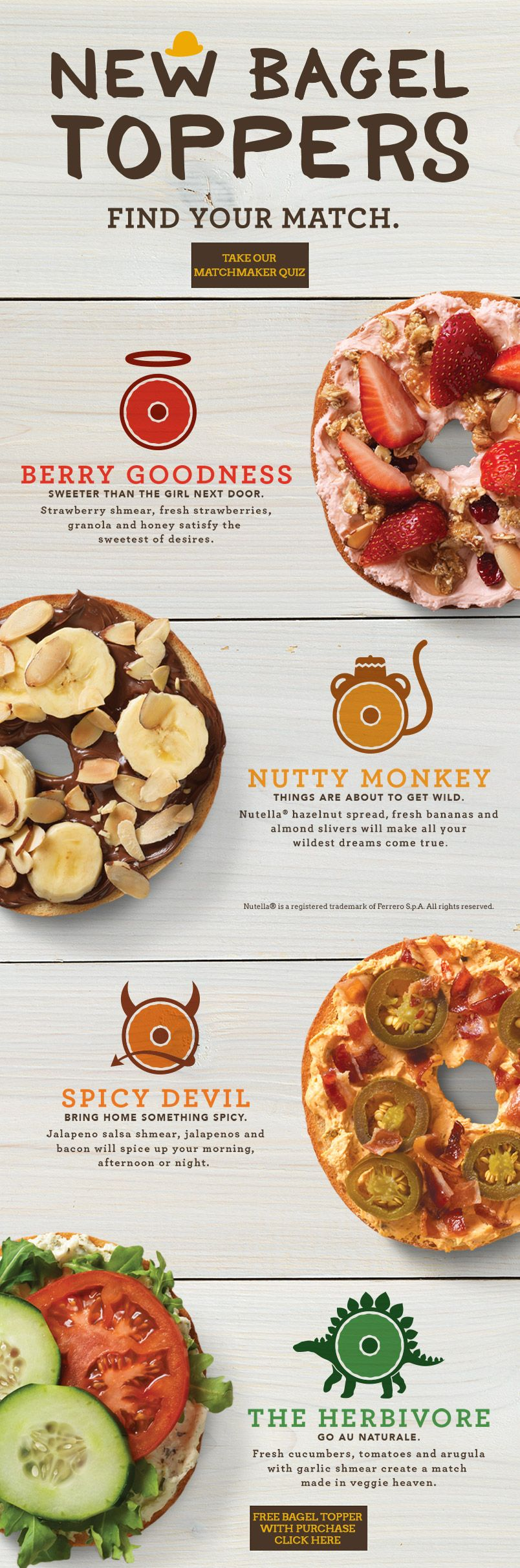 bagel toppers - bottom offer | einstein bros | snacks | pinterest