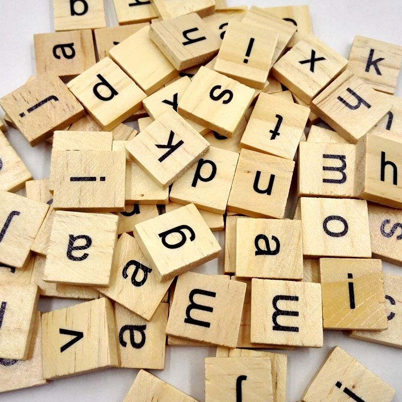 Bulk Alphabet Wooden Scrabble Individual Tiles Letters Numbers DIY Crafts Wood W