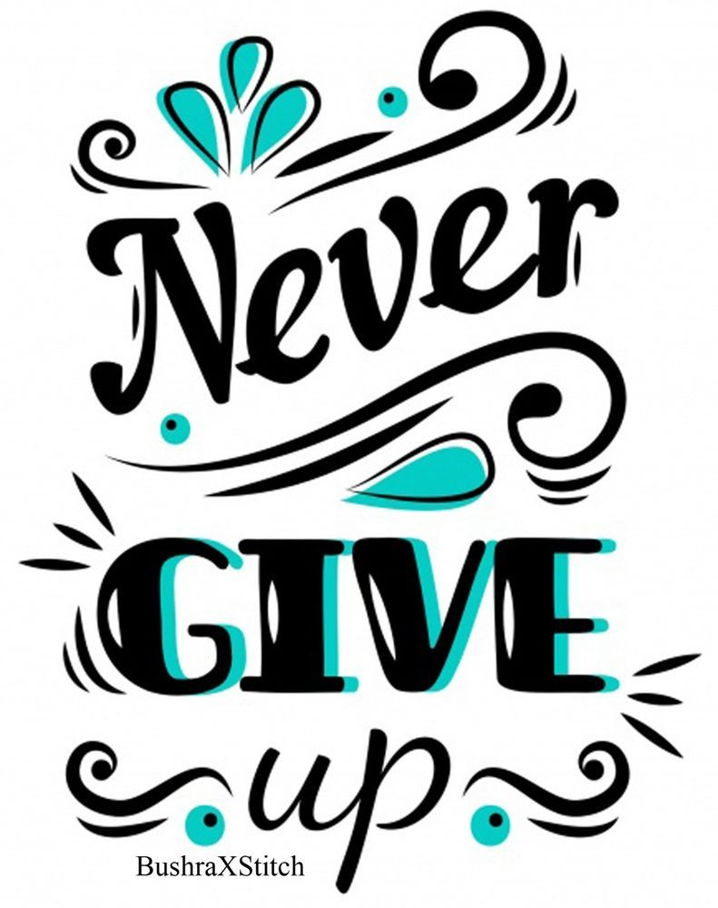 Dmc never give up quotes cross stitch embroidery pattern kits