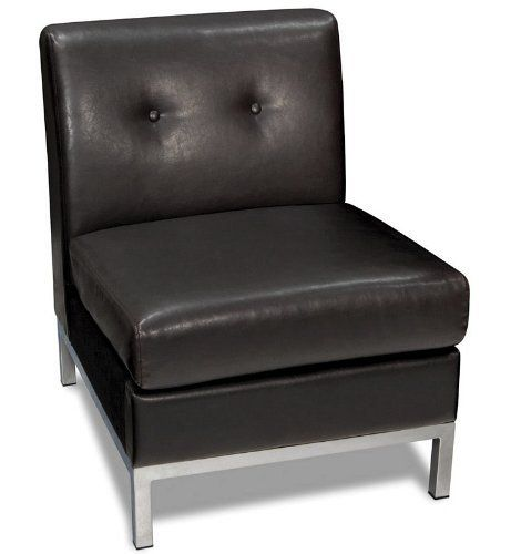 """Armless Chair with Button Tufted Back in Espresso Faux Leather by Office Star. $214.16. Armless Chair with Button Tufted Espresso Faux Leather. Sofas and Sets->Chairs and Recliners. Sofas and Sets. Some assembly may be required. Please see product details.. Dimension: 23""""W x 28""""D x 30""""H Finish: Espresso Material: Faux Leather, Metal Armless Chair with Button Tufted Back in Espresso Faux Leather Features button tufted design back and metal legs in chrome finish. ..."""