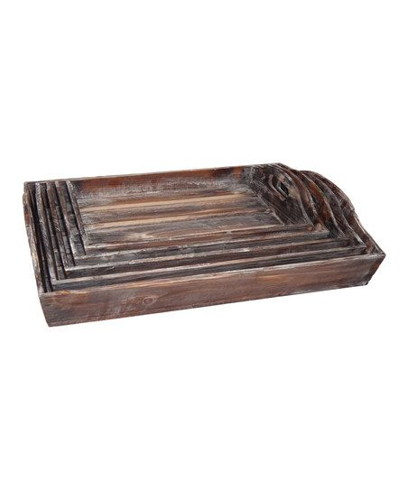Decorative Tray Awesome Cheungs Rattan Imports Nesting Wood Decorative Tray Set  Zulily Decorating Design