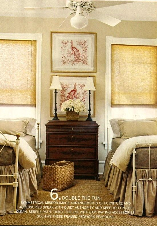 pairs of twin beds placement of wall art | Walls & Shelves ...