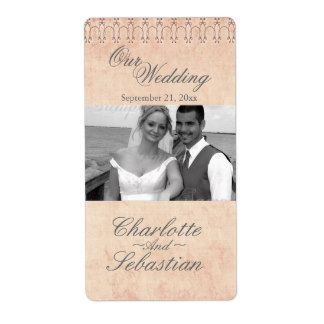 Wine Label Antique Flourish Photo Template  Wedding