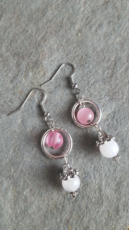 Pink Rose Quartz Vintage Style Dangle Earrings by JewelrybyJessAngel on Etsy
