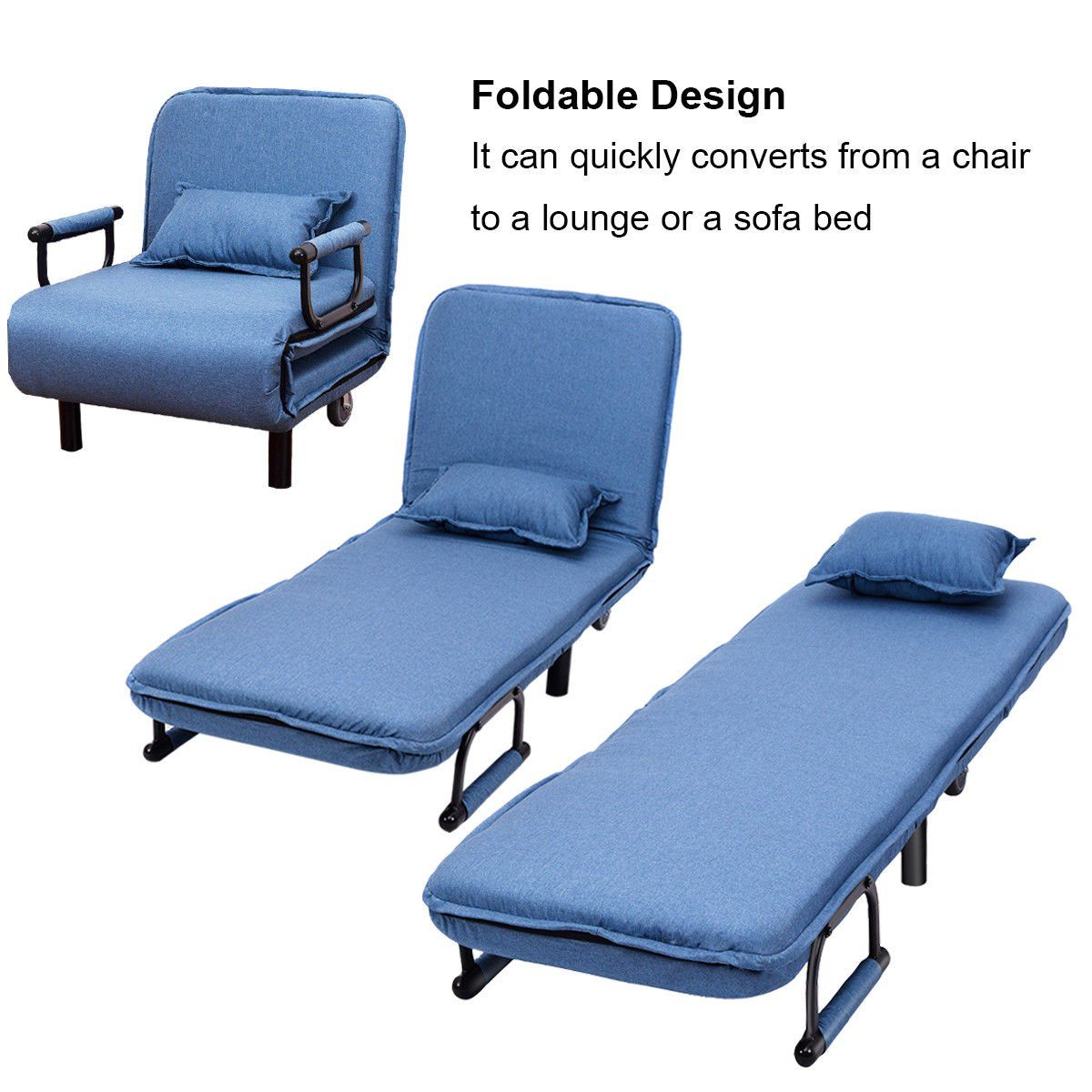 Costway Convertible Sofa Bed Folding Arm Chair Sleeper