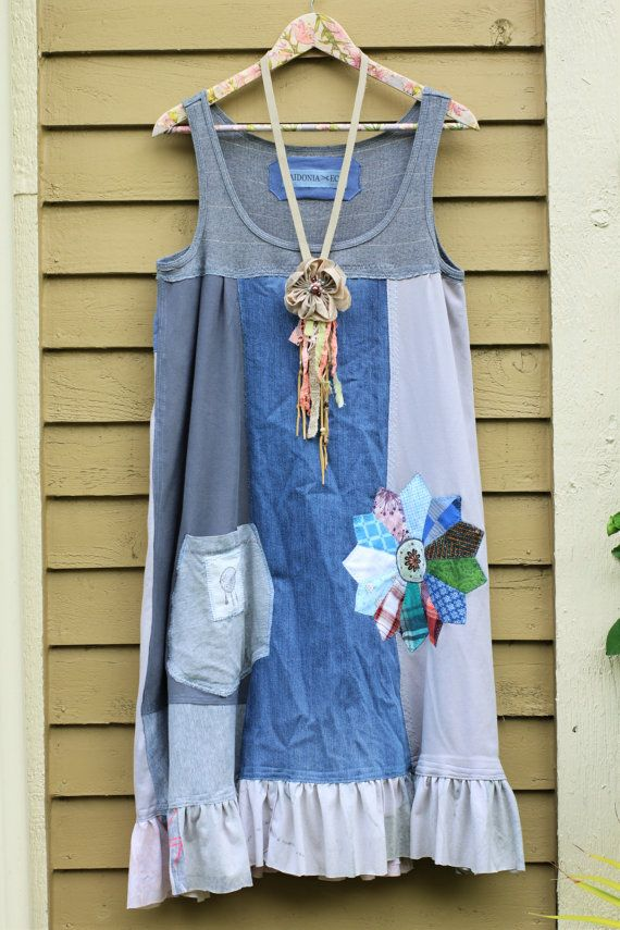 8a3652201589 reserved - L Rustic Tank Dress Upcycled Fairy Dress Recycled ...