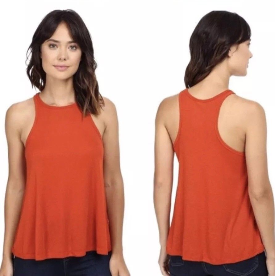a1443ba7a9 Free People Women s Shirt Long Beach Tank Top Ribbed Racerback Red Small  New