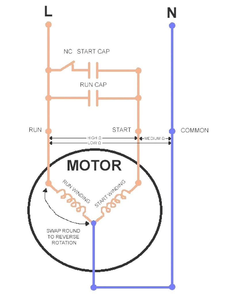 Wiring Diagram Single Phase Motor Ac Capacitor Refrigerator Compressor Electric Motor