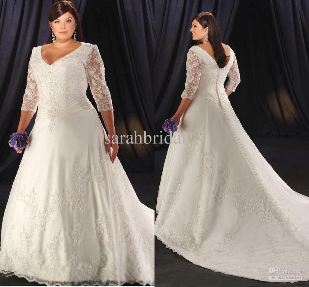 Wholesale A-Line Wedding Dresses - Buy Plus Size 2013 Sexy Charming New Style Empire Tulle V Neck Appliques Ruffles Pleats Long Sleeve Bride Ball Gown Wedding Dress Dresses, $168.0 | DHgate