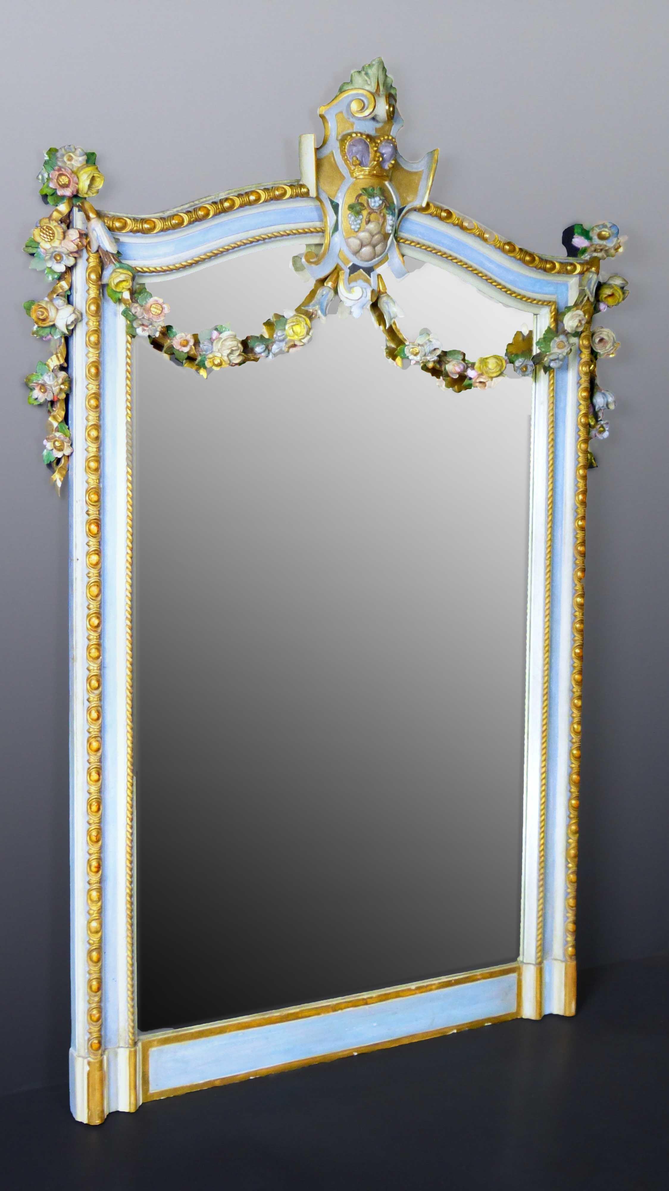 Gran espejo Frances policromado y dorado estilo Maria Antonieta de ...