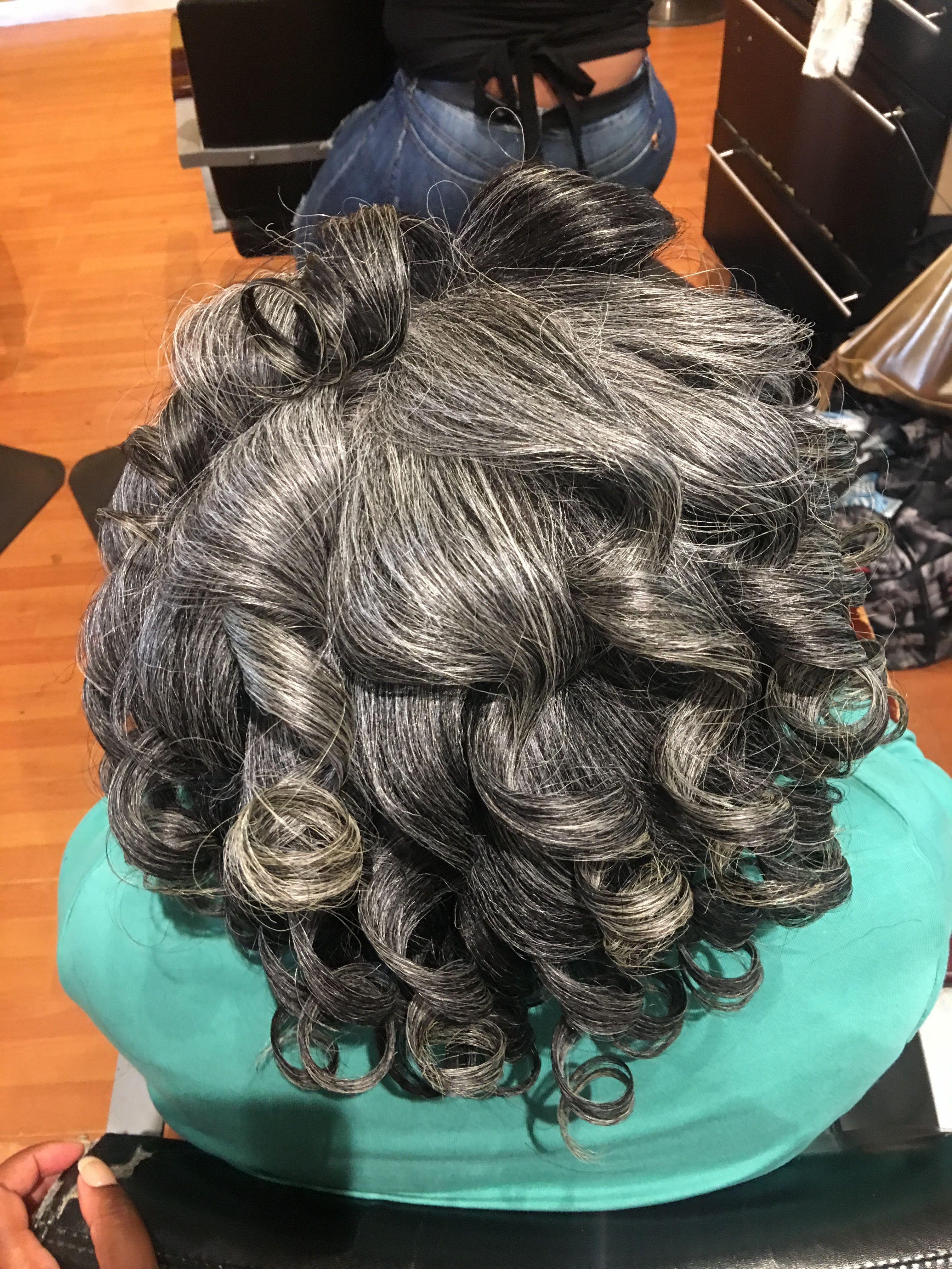 Silk press (pre wrap) | Beautiful gray hair, Silk press ...