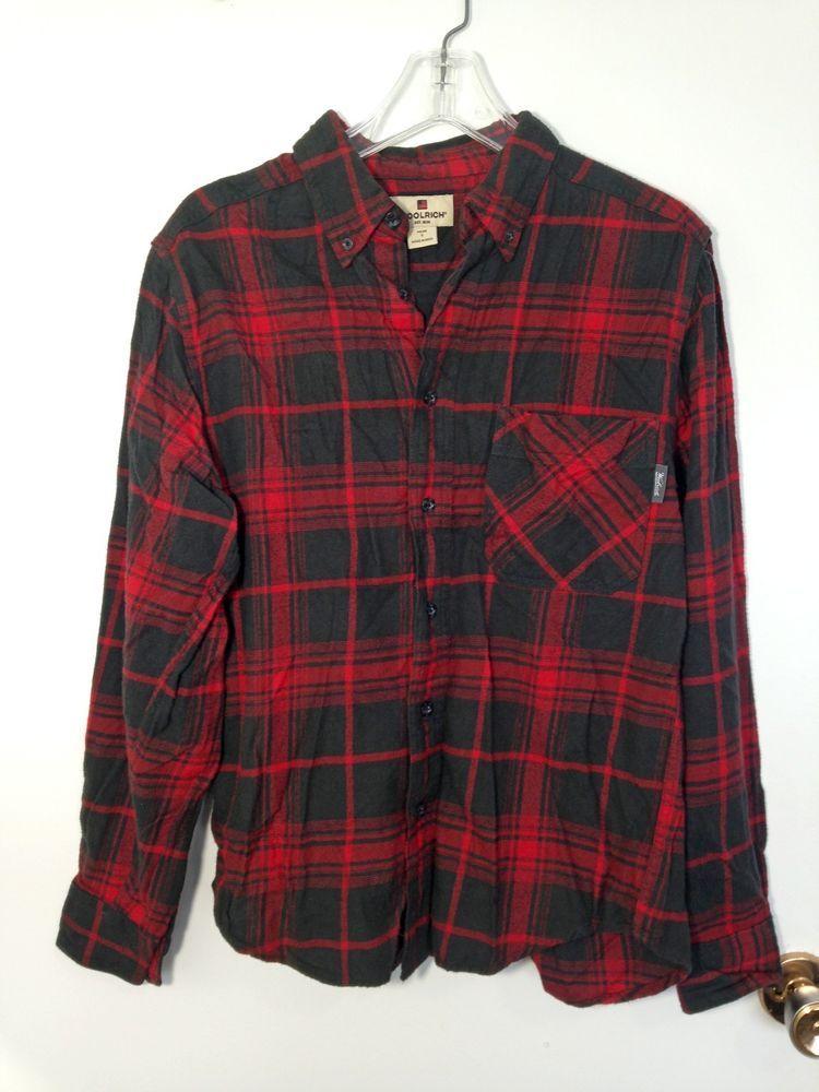 d567f856f15 Details about Men's Woolrich 100% Cotton Flannel Plaid Red Work ...