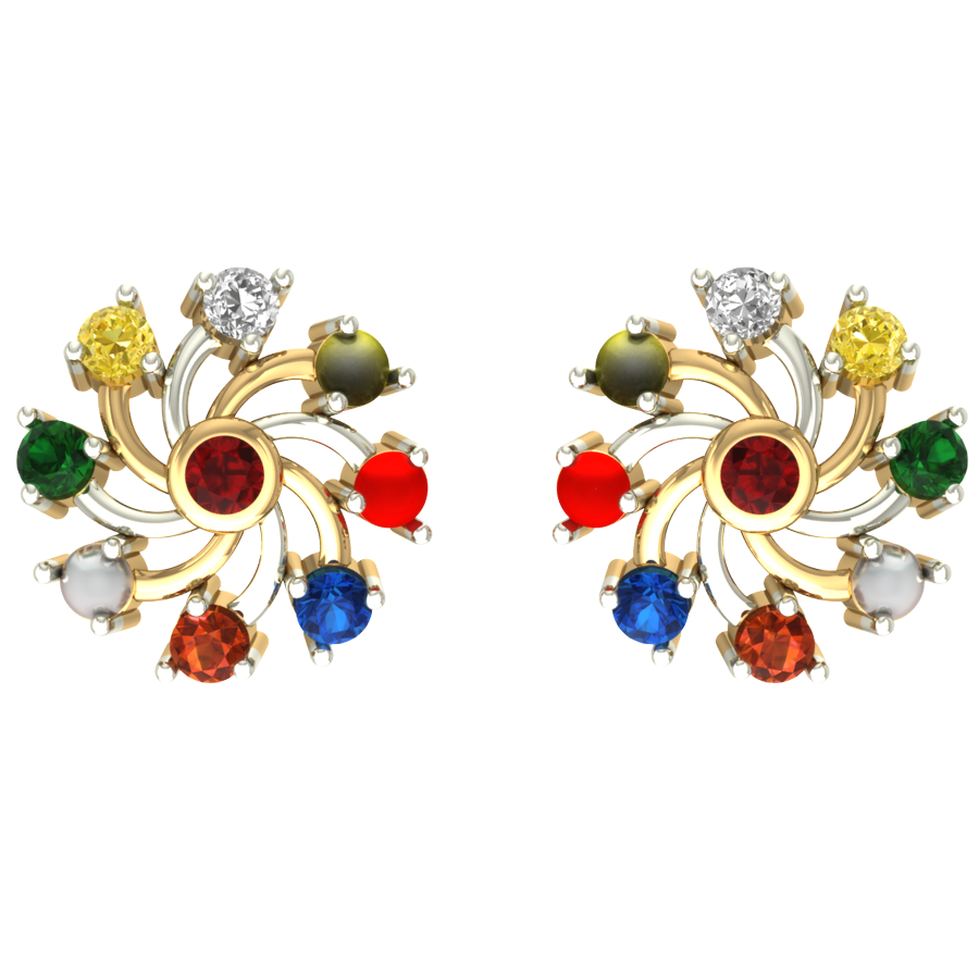 Pin by aurobliss on navratna gold earrings collection
