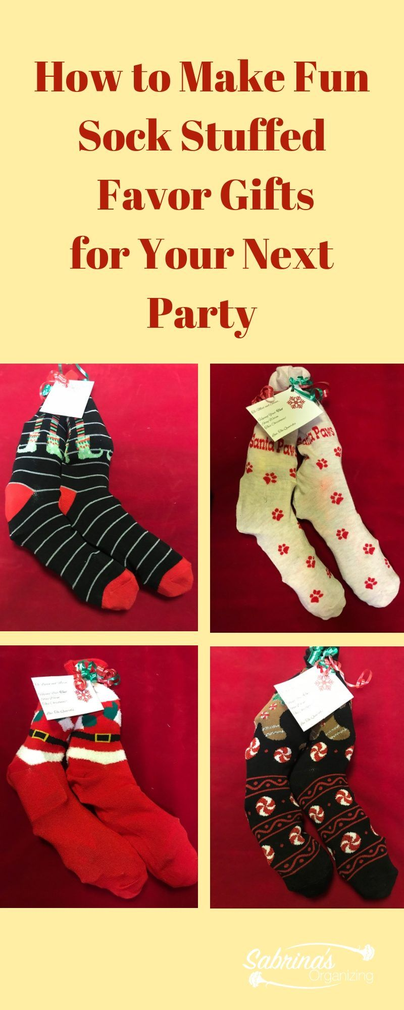 How To Make Fun Sock Stuffed Favor Gifts For Your Next Party Christmas Gifts For Boys Christmas Socks Gift Christmas Party Favors Diy