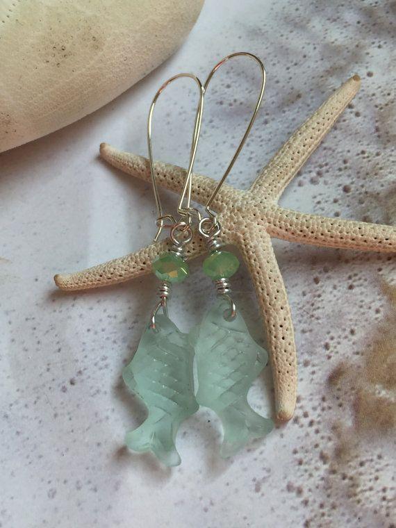 Dangle sea glass fish earrings-cultured coke by SeasideJewelry1