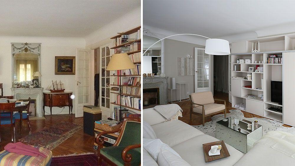 avant apr s un appartement haussmannien de 90 m2 modernis m6 before after appartement. Black Bedroom Furniture Sets. Home Design Ideas