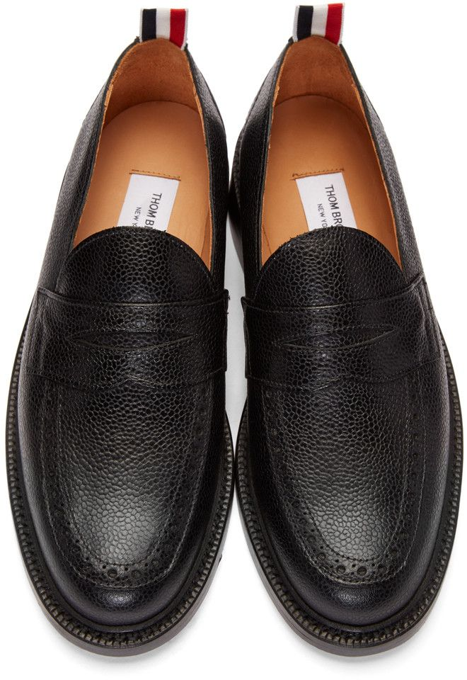 e005bf8c77a Thom Browne - Black Pebbled Penny Loafers More