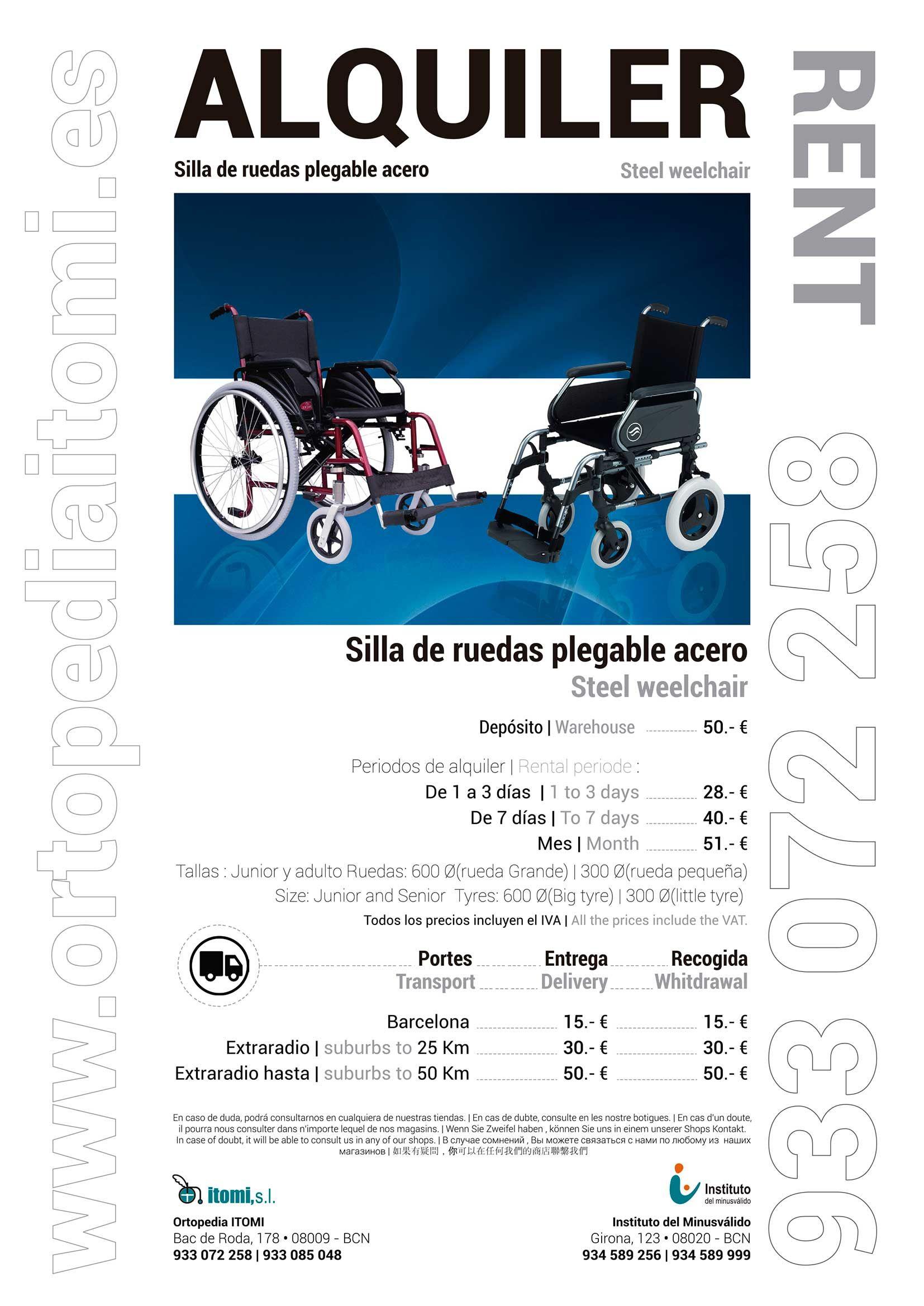 Alquiler silla de ruedas plegable acero