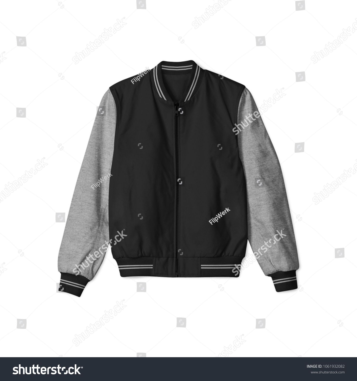 Download Blank Jacket Bomber Baseball Black Heather Grey Color On White Background In Front View Isolated For Mockup Template Black Heather Bomber Jacket Jackets Black