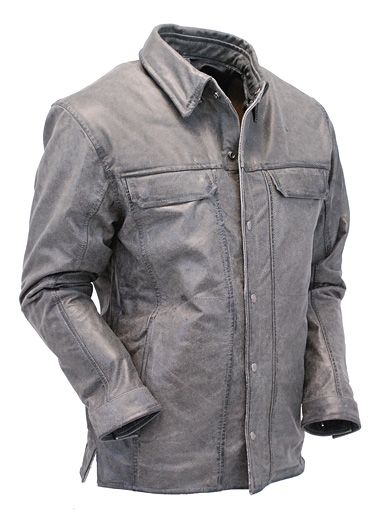 Men's Vintage Gray Lambskin Leather Shirt with Gun Pockets #MSA6874GGY