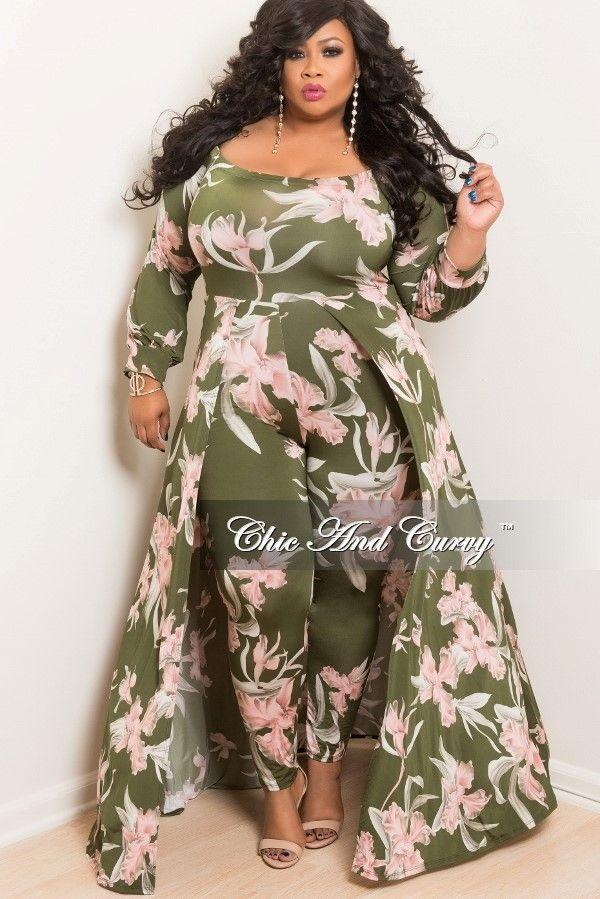 Plus Size Jumpsuit With Attached Long Skirt In Green And Pink Chic And Curvy Plus Size Long Dresses Dresses Long Bodycon Dress