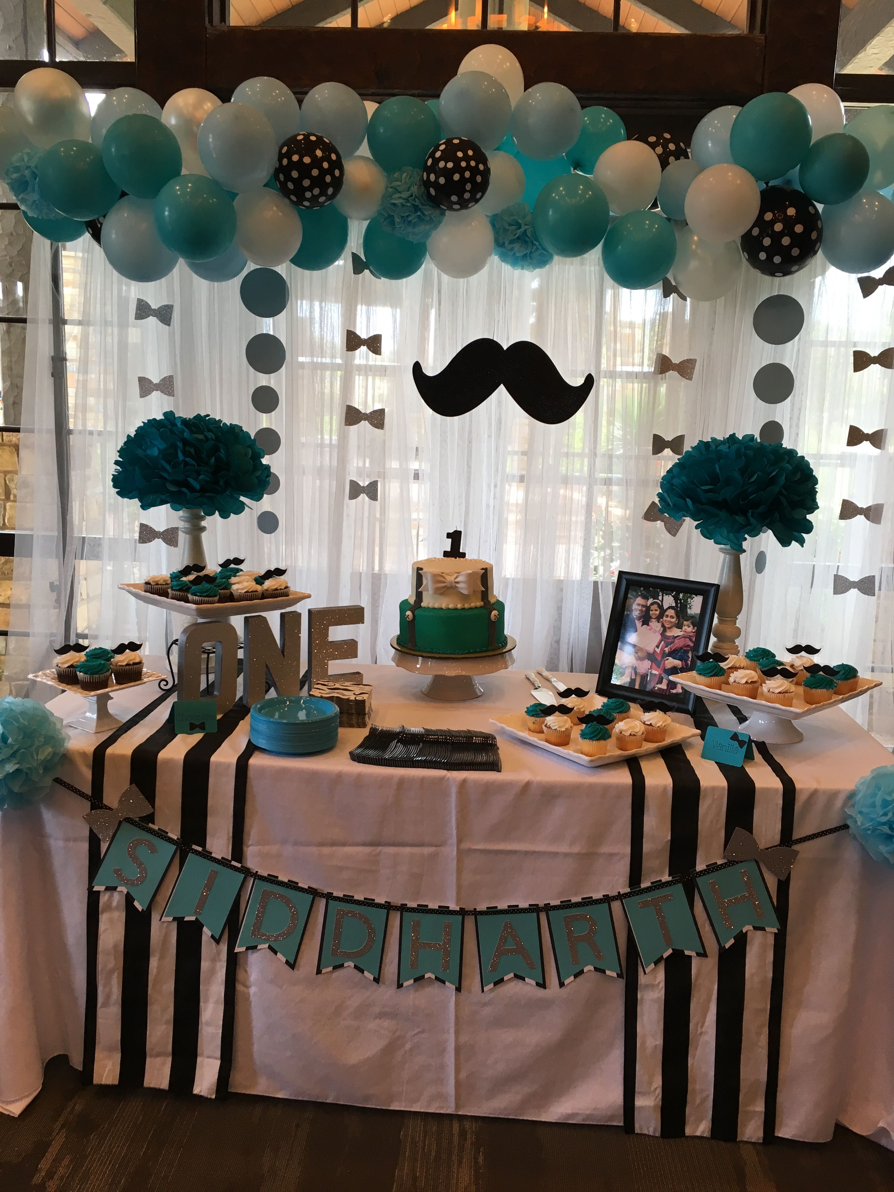 Little Man First Birthday Cake Table With Images Little Man