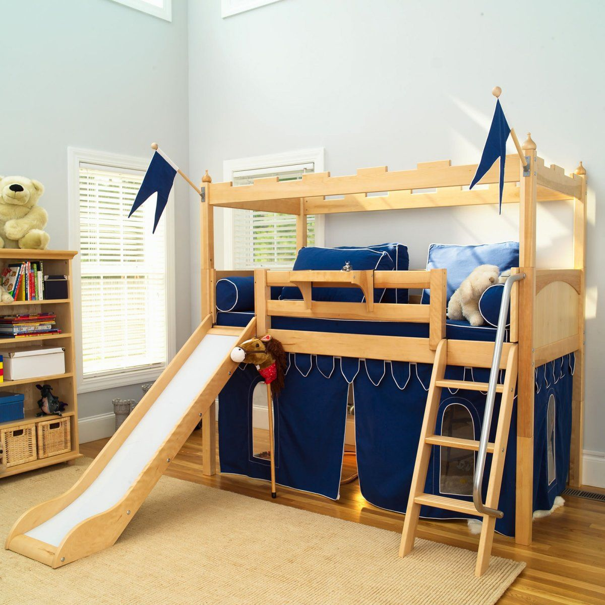 Girls loft bed with slide  Adorable Low Kids Bunk Bed Idea for Toddler with Wood Frame and