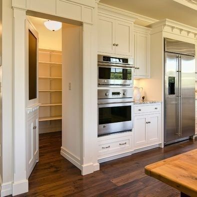 48 Kitchen Pantry Ideas with Form and Function - Kitchen pantry design, Pantry design, Kitchen layout, Kitchen design, Kitchen renovation, Pantry room - We all know that there are so many items that you can find in the kitchen  And if we're not organizing it carefully, your kitchen pantry can quickly become a disaster area  For a better kitchen pantry organization, consider to use clear storage containers to transfer your food items into matching jars to make your pantry look neat and tidy; flours, seeds, nuts, small snack, dried fruits, etc  If you have a cabinet, store anything especially the items that you often use the most and not too bulky on the insider of the cabinet door