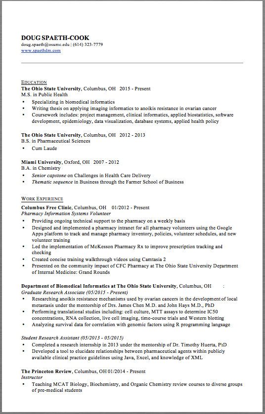Pharmacy Resume Example Doug SpaethCook DougSpaethOsumcEdu