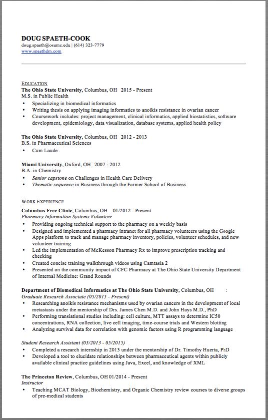 pharmacy resume example doug spaeth cook doug spaeth osumc edu