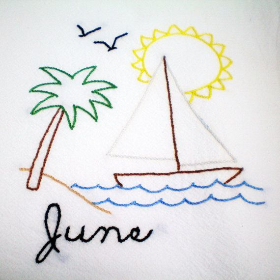 Dish Towel Sailing June Hand Embroidery Coastal Beach By