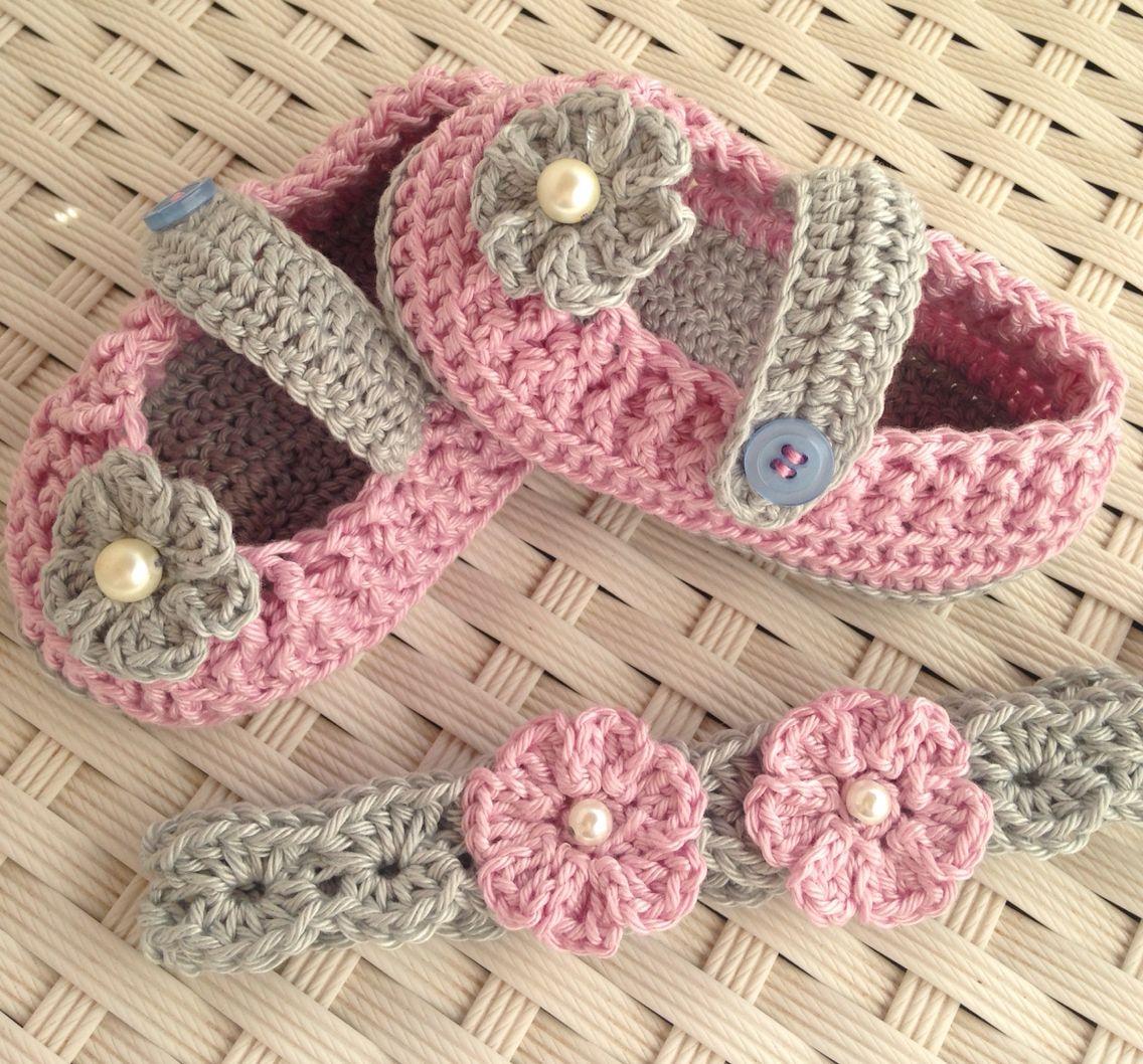 cb139b982 Bailarinas a crochet a juego con diadema Bandanas Para Bebês
