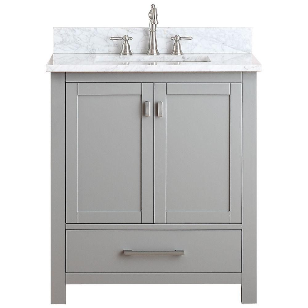 Modero 31 Inch W Freestanding Vanity In Grey With Marble Top In White 30 Inch Vanity 30 Bathroom Vanity 30 Inch Bathroom Vanity
